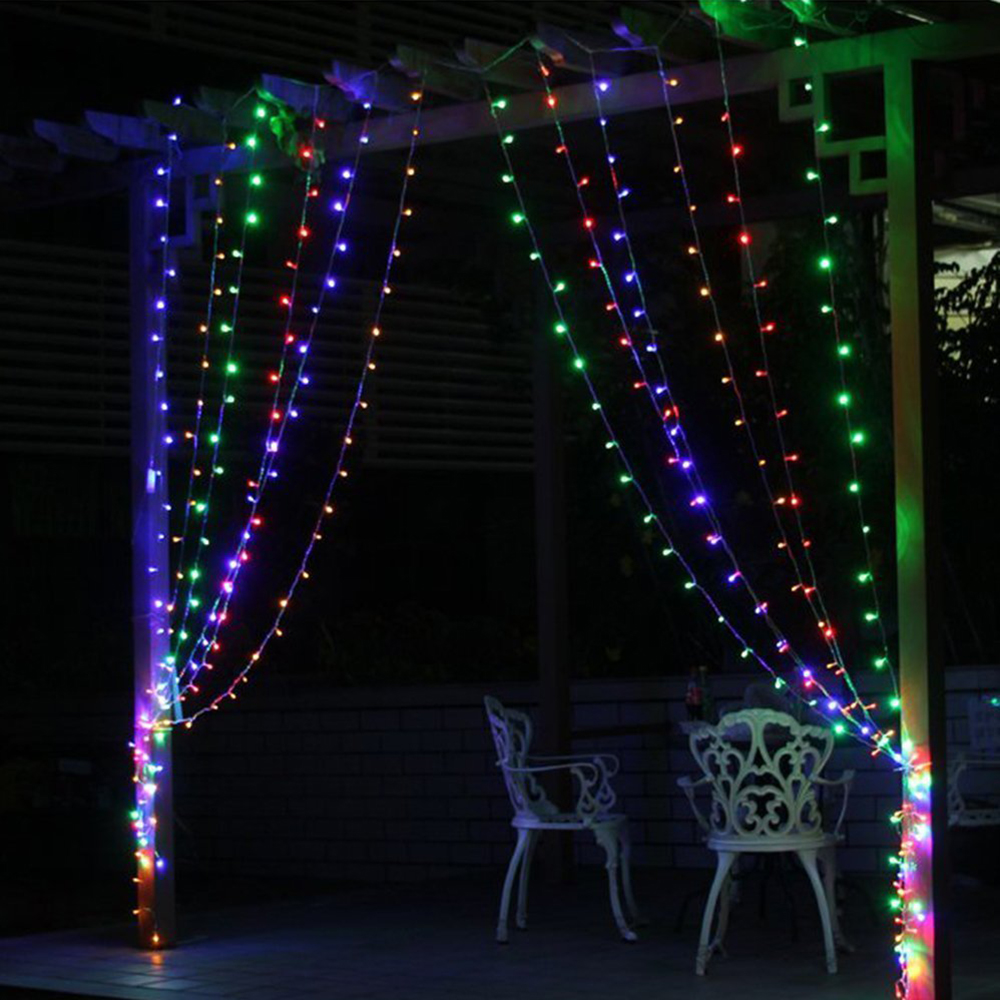 Christmas outdoor decoration 3m x 1m curtain icicle string for Outdoor christmas lights