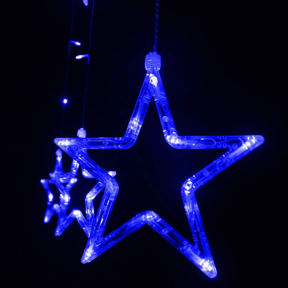 Christmas String Lights Stars : Stars LED Curtain Fairy String Lights Window Curtain Lamp Star Styled For Christmas, Parties ...