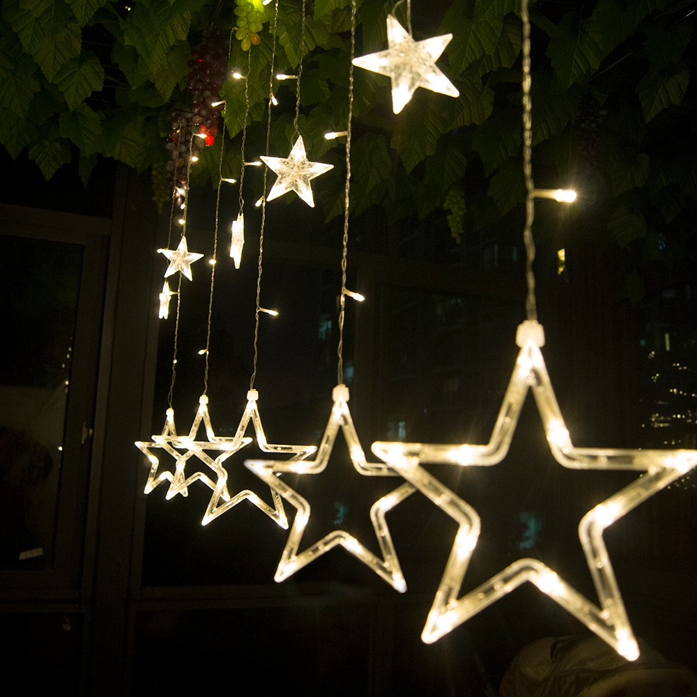 Stars LED Curtain Fairy String Lights Window Curtain Lamp Star Styled For Christmas Parties Wedding Festival Decorations