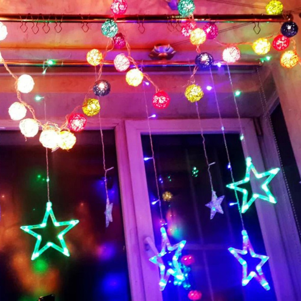 Stars Led Curtain Fairy String Lights Window Curtain Lamp