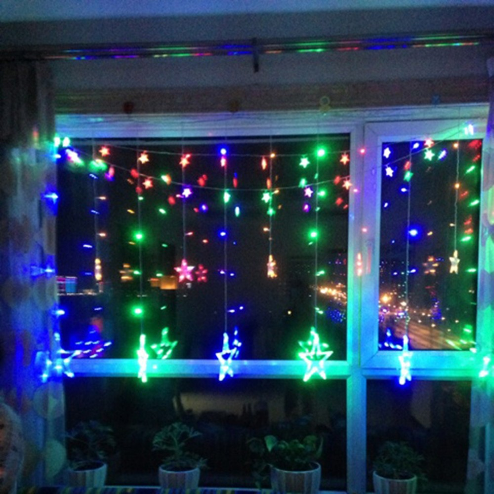 Stars LED Curtain Fairy String Lights Window Curtain Lamp Star