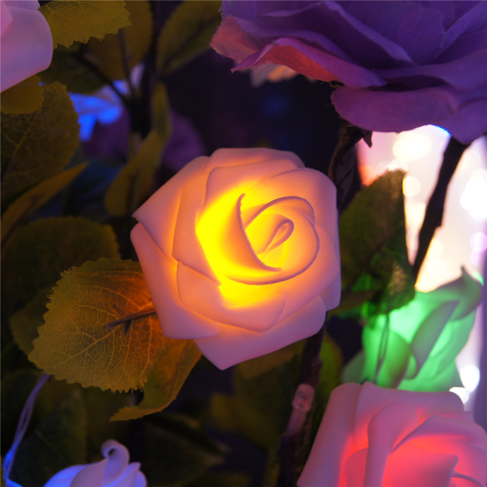 8 Color Night Light 20 x LED Novelty Rose Flower Fairy String Lights Wedding Garden Party Christmas Decoration Nighlight