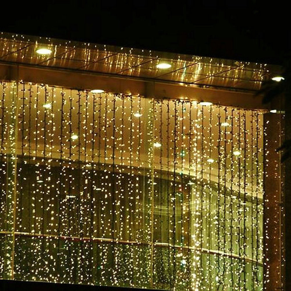 220V 6M x 3M 750 LED String Lights Curtain Lights for Home Decoration and Christmas Party (EURO plug)