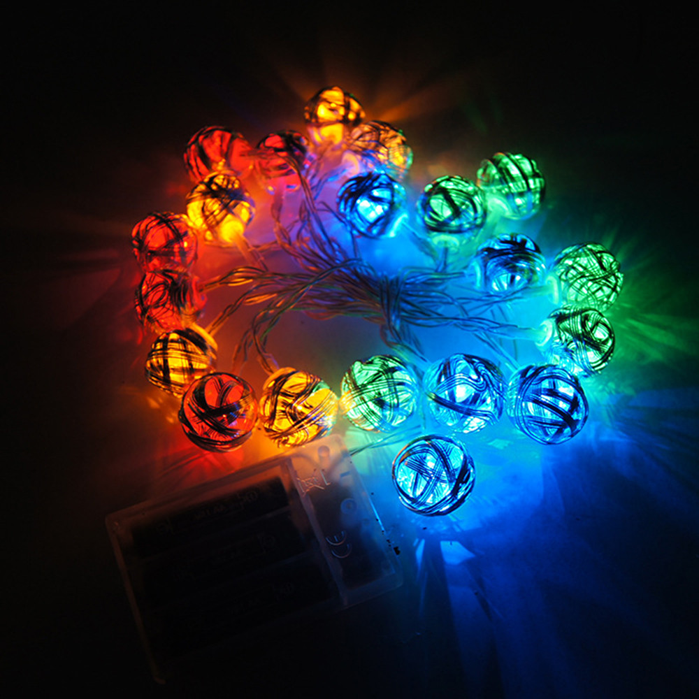 Euro Style 20 RGB Multicolor Silver Handmade Led Ball String Lights Fairy wedding XMAS Patio Deco Lamp