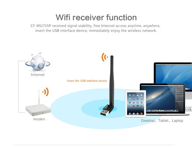 10pieces lot Realtek RTL8188EUS 5dBi High Gain Antenna 150M WPS USB Wifi Receiver Emitter Wireless Network Card