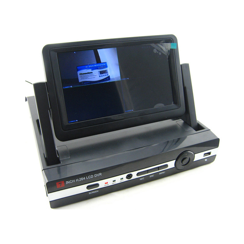 4 channel DVR Recorder With 7 Inch LCD Monitor Screen ...