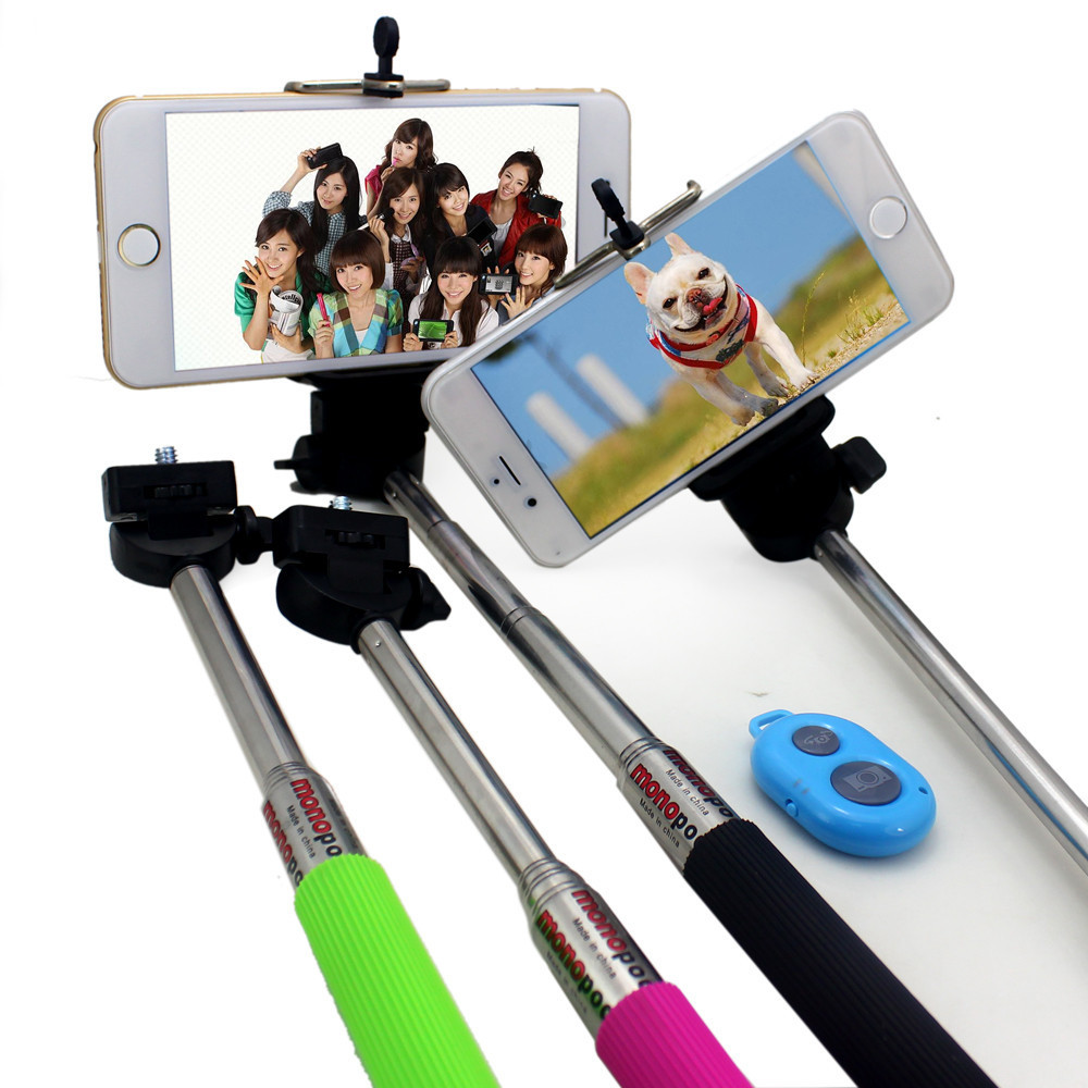 Extendable Self Selfie Stick Handheld Monopod +Clip Holder