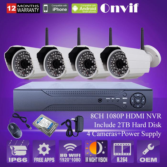 video surveillance ip camera kit 8ch nvr 2tb hdd 1080p wireless camera wifi infrared night. Black Bedroom Furniture Sets. Home Design Ideas