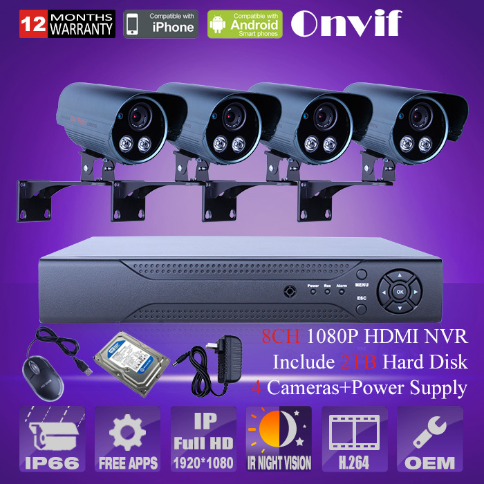 8ch Nvr Amp 2tb Hdd 4pcs 1080p 2mp Hd Ip Camera Outdoor Ir