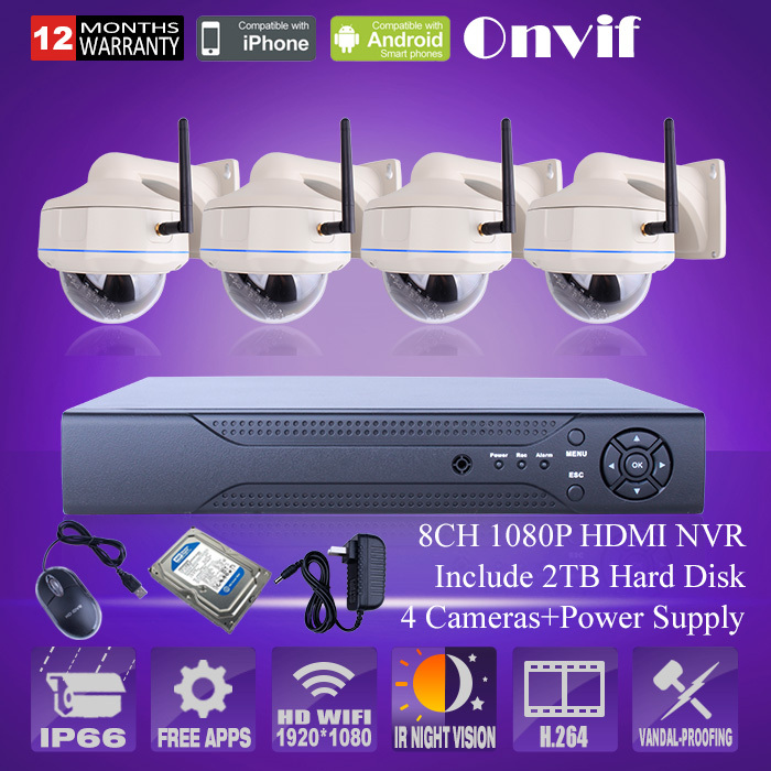 8 channel nvr video surveillance kit home cctv security camera system 2tb hdd 1080p hd camera. Black Bedroom Furniture Sets. Home Design Ideas