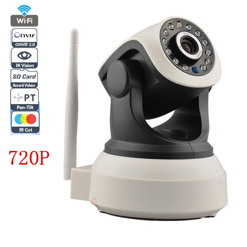 Wifi ip camera 720p 1 0mp p2p 2 way audio wireless ip for Microcamera wifi per iphone e android