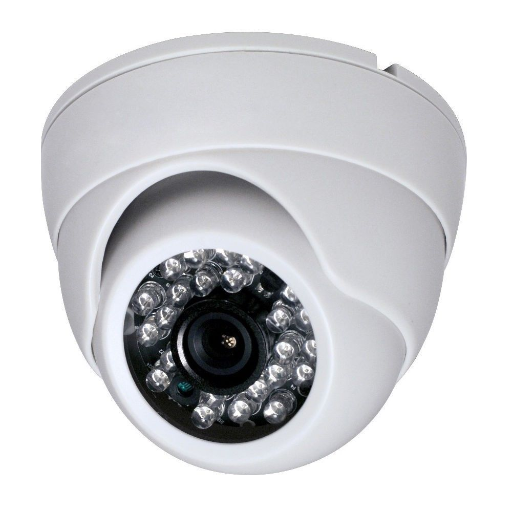 White 1/3 inch CMOS 700TVL 24 LED IR Cut Security Indoor
