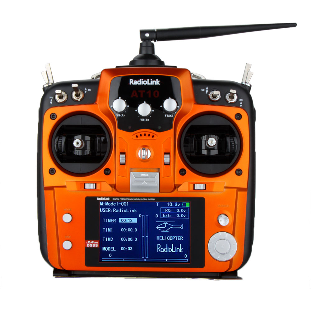 RadioLink AT10 New Orange Version 2.4G 10CH RC Transmitter Remote Control System w/ R10D ...