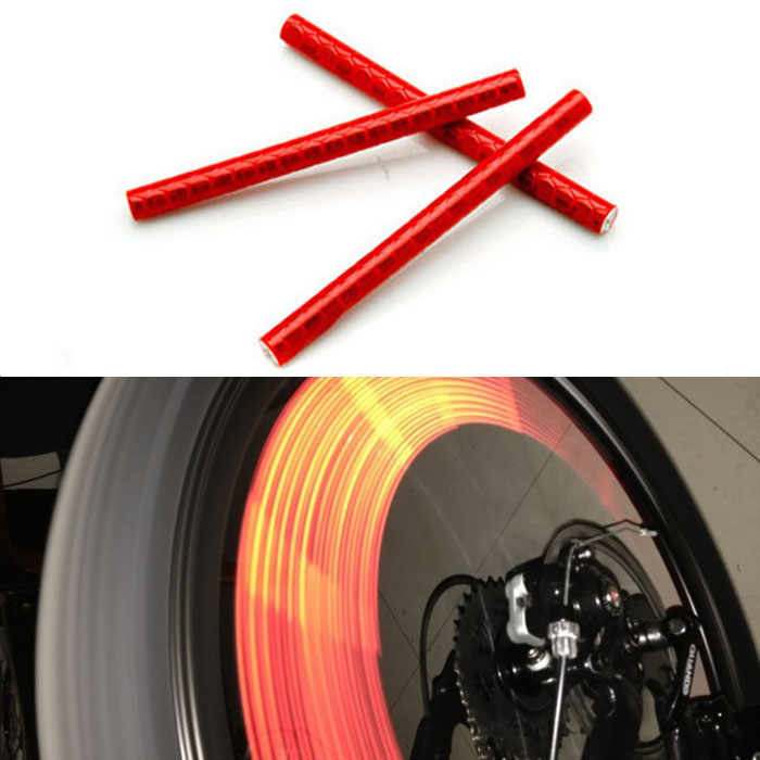 New 12pcs Bicycle Bike Wheel Spoke Reflector Reflective Strip Clip Tube Jecksion