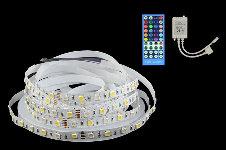 5M RGBW LED strip Light 5050 non Waterproof DC12V SMD 60Leds M 300 LEDS Flexible Bar Light +40 Keys RF Dimmer Remote LS06