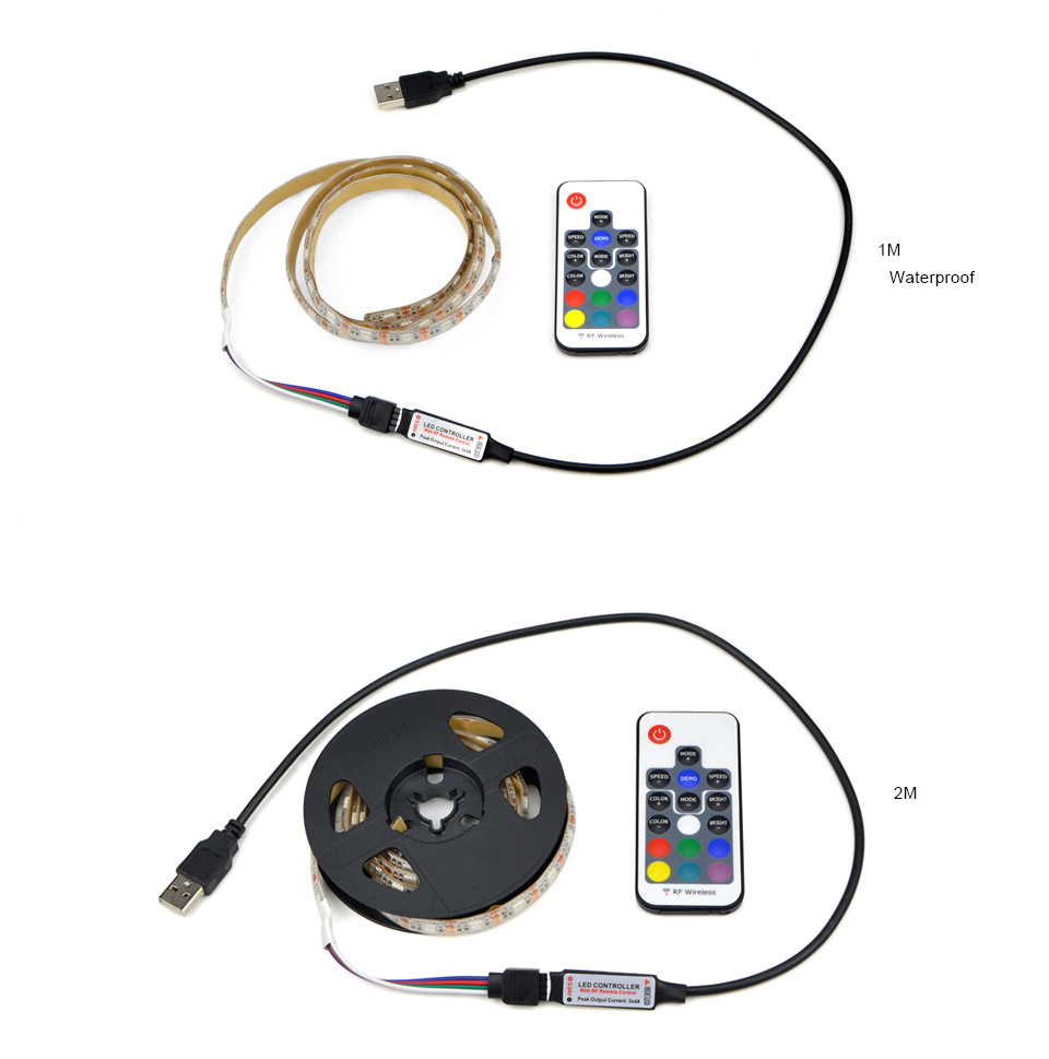 DC 5V 5050 SMD RGB USB cable Power LED Strip light USB LED Light Strips lamp Flexible Tape with Remote control 1M 2M 3M 4M 5M