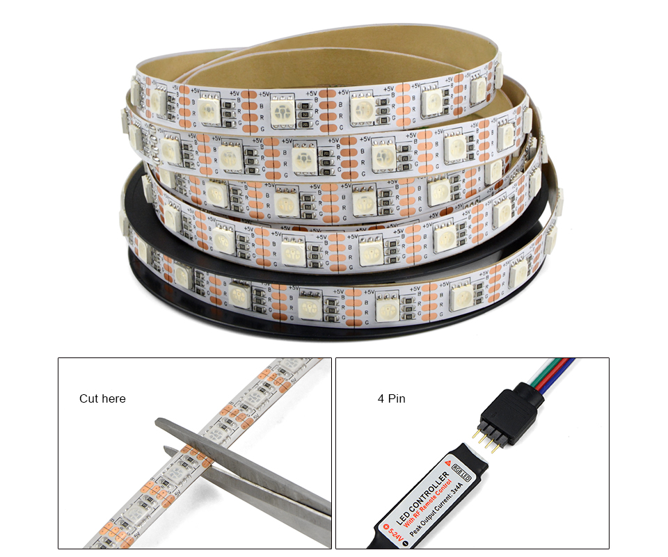 IP20 IP65 1m 2m 3m 4m 5m DC 5V RGB Flexible USB led strip light 5050 SMD sting Ribbon Adhesive tape TV Background lighting