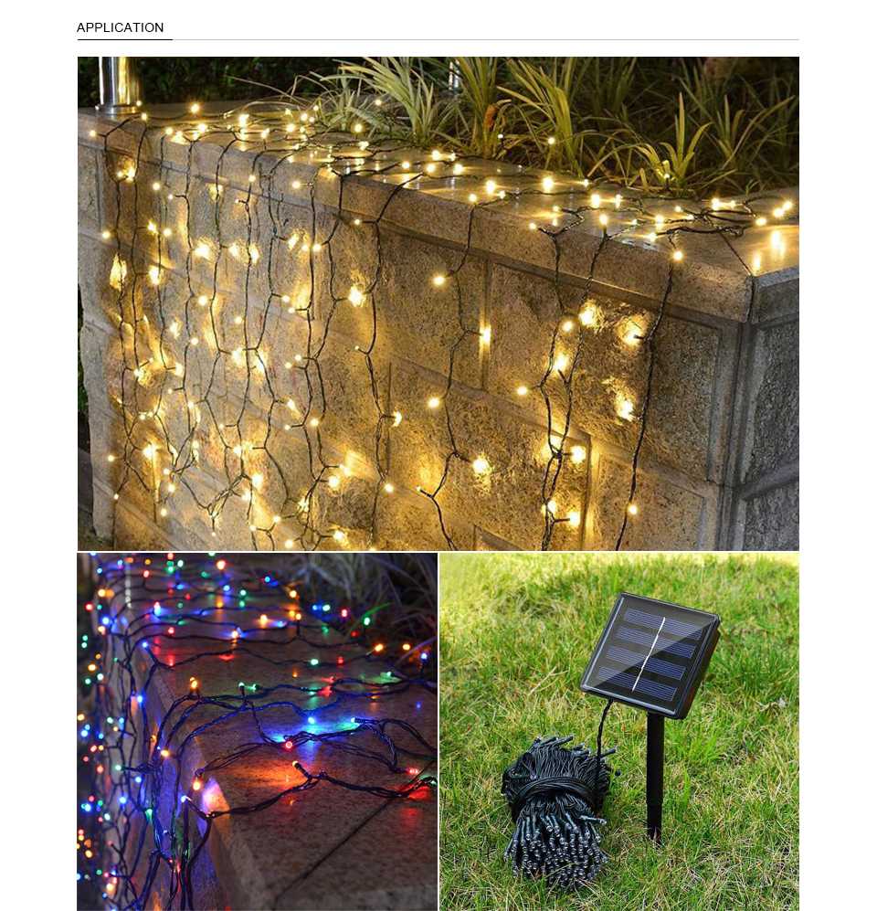 Solar LED String Lights Ambiance lighting Outdoor Patio Lawn Landscape Garden Home Wedding Holiday Christmas Tree Party Decor