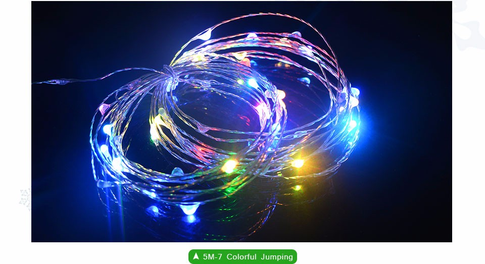 5M 50LED 2M 20LEDs LED Strip lighting LED Copper Wire String lights Battery Powered For Fairy Christmas Tree Holiday Party Decor