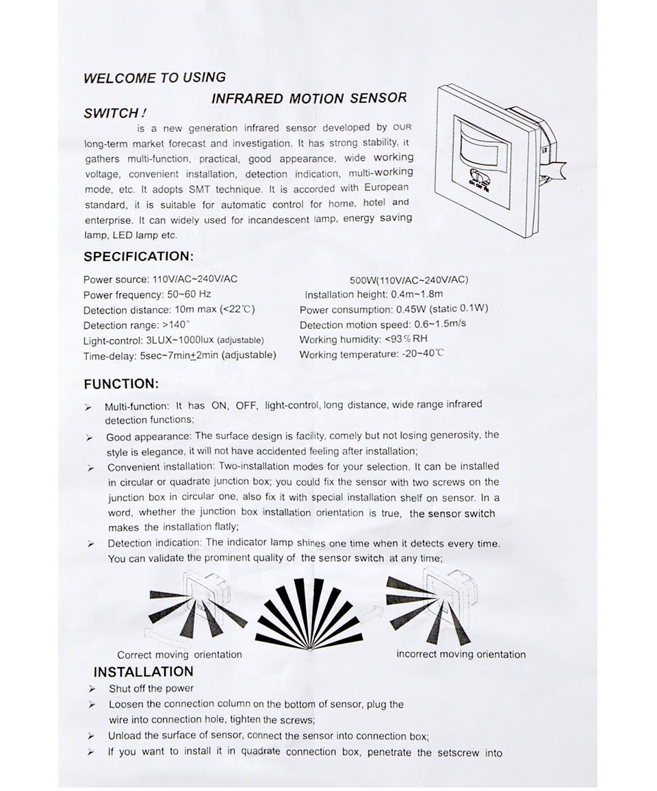 Power Electrical Socket 110v 240v Pir Sensor Ir Infrared Motion Light Switch Wiring Diagram Small Recessed Wall