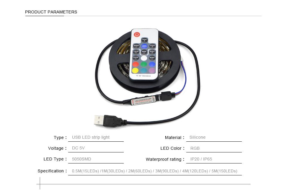 dc 5v 5050 smd usb cable power supply rgb led strip light