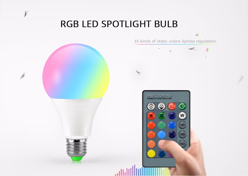 3W 10W RGB LED bulb E27 E14 GU10 85 265V 110V 220V LED lamp light spotlight with 24key remote control