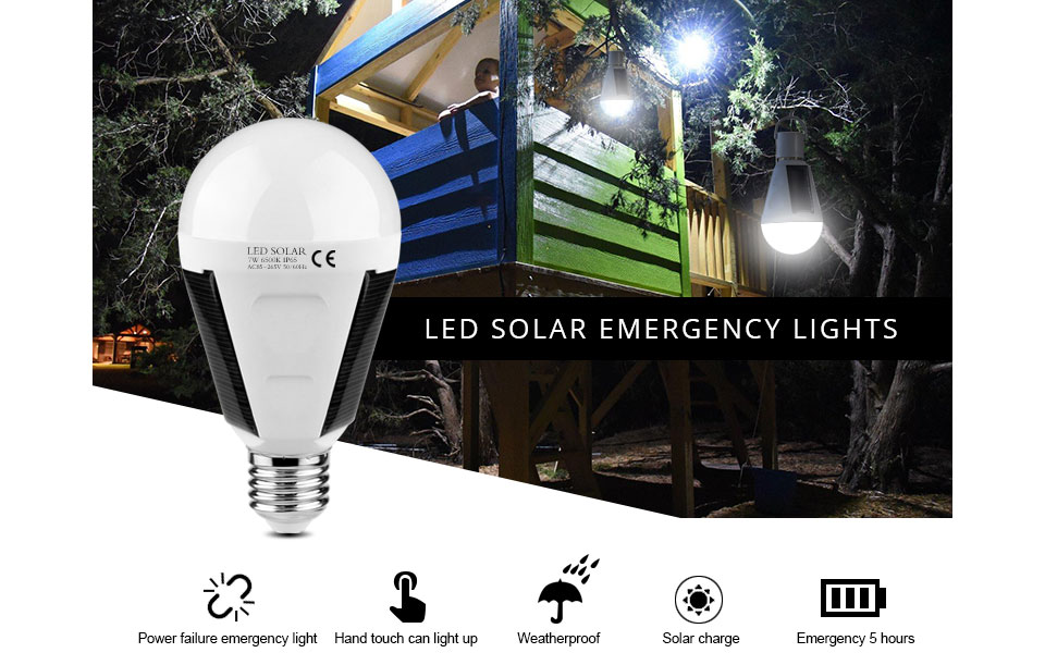 LED sensor bulb E27 7W 12W 220V 110V LED Smart Charge Emergency lamp Portable Outdoor Solar light Rechargeable Camp Tent light
