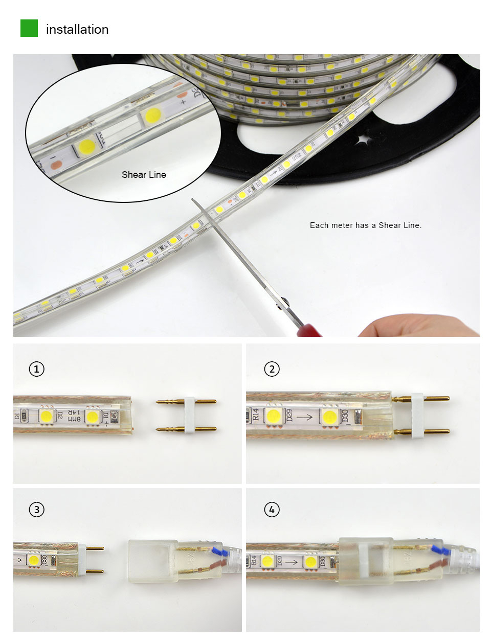 Upgrad Copper Wire 220v Smd 5050 Led Strip Light 1m 18m Ip65 Bulb Wiring Diagram For Waterproof Tape Outdoor
