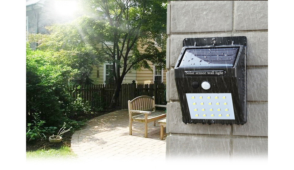 2PCS Waterproof 20LEDs PIR Motion Sensor Solar light solar panel power lamp Wall Security Auto On Off LED Outdoor Lighting