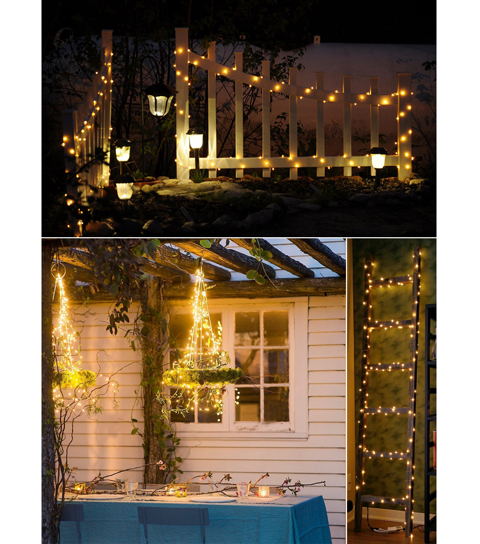 10M 20M Solar led strip light Solar LED String Light Holiday Outdoor Christmas Xmas Wedding Party Decorations Garland Lighting