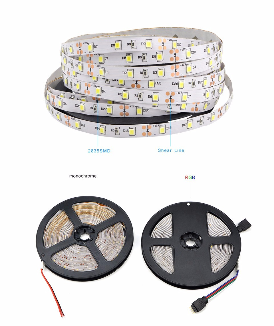 DC12V 5M Waterproof Non Waterproof 2835 RGB LED Strip light String 24 44Key Remoter 3A Power Supply DIY Decor Holiday lighting