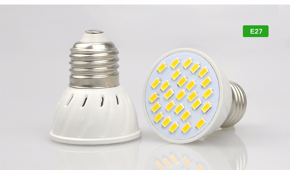 10Pcs Heat Resistant Plastic Body 5730 SMD 27LEDs LED Spotlight light lamp Bulb E27 GU10 MR16 GU5.3 220V lamp For Indoor light