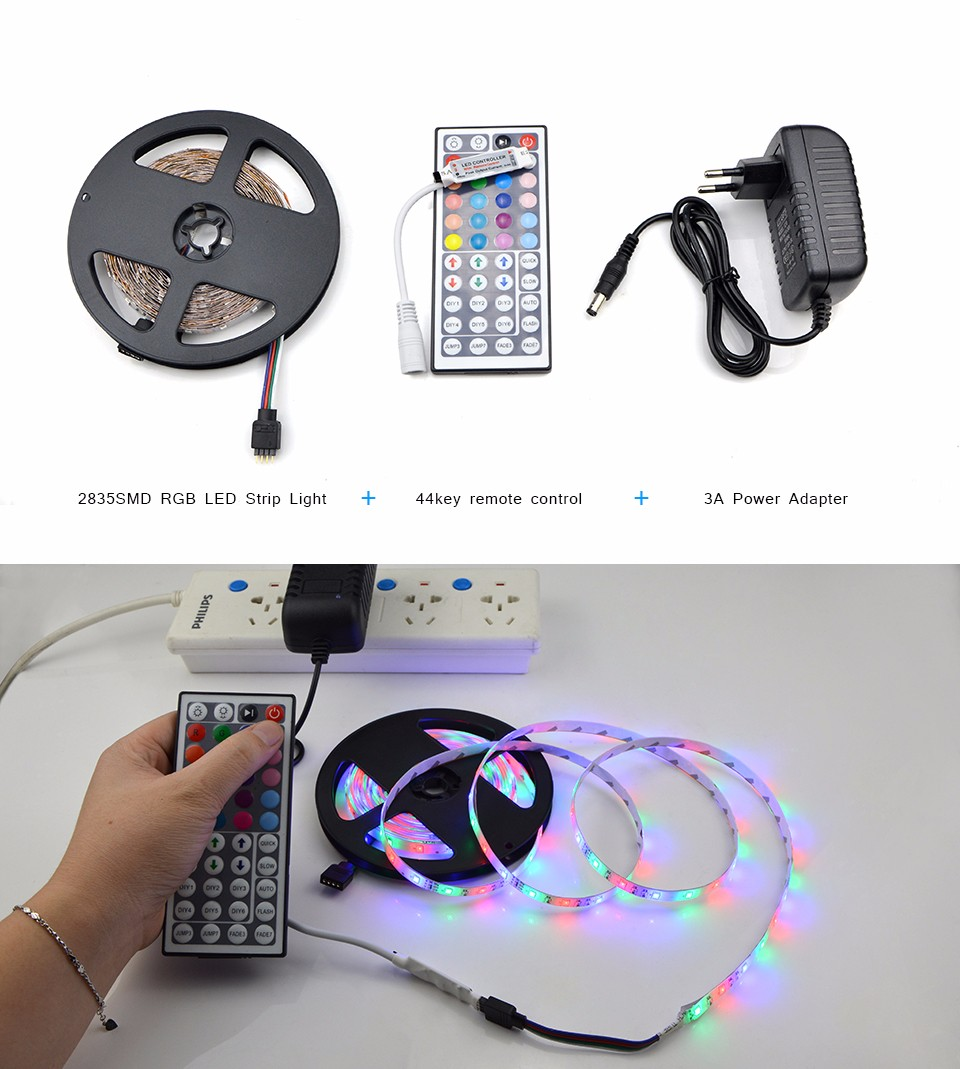 RGB LED Strip Light 5m DC12V SMD 3528 IP20 No Waterproof Flexible Light LED Ribbon Tape Lamp Remote Controller Power Adapter