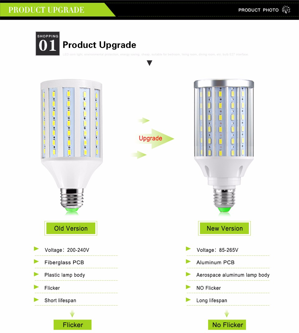New Upgrade Aluminum PCB Cooling 5730 SMD LED Bulb 85-265V E27 10W