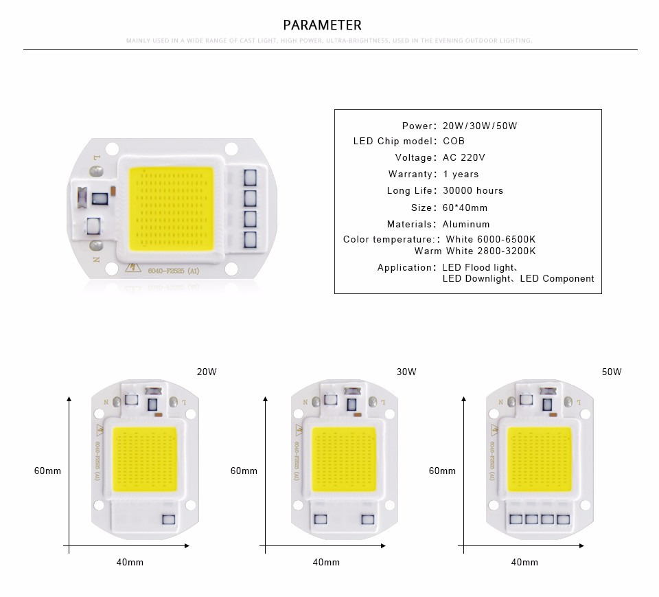 LED COB Chip Bulb chip 20W 30W 50W 220V Power Supply IP65 Smart IC integrated Driver for flood light Floodlight Spotlight