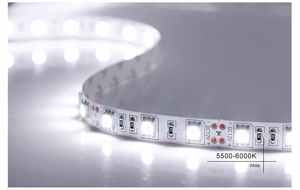 5M Single color RGB 5050 SMD LED Strip light not waterproof DC12V 60LEDs m 5m lot LED Flexible lamp for home Decoration