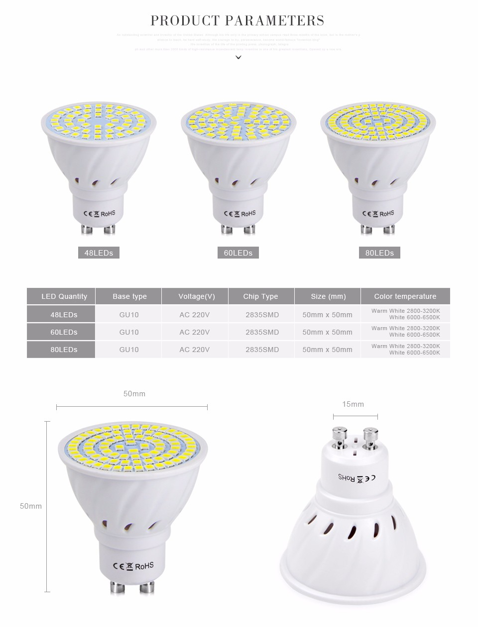 GU10 2835SMD 220V 240V LED Spotlight Lighting Bombillas Bulb 48 60 80 LEDs LED Lamp For Indoor Kitchen spot light