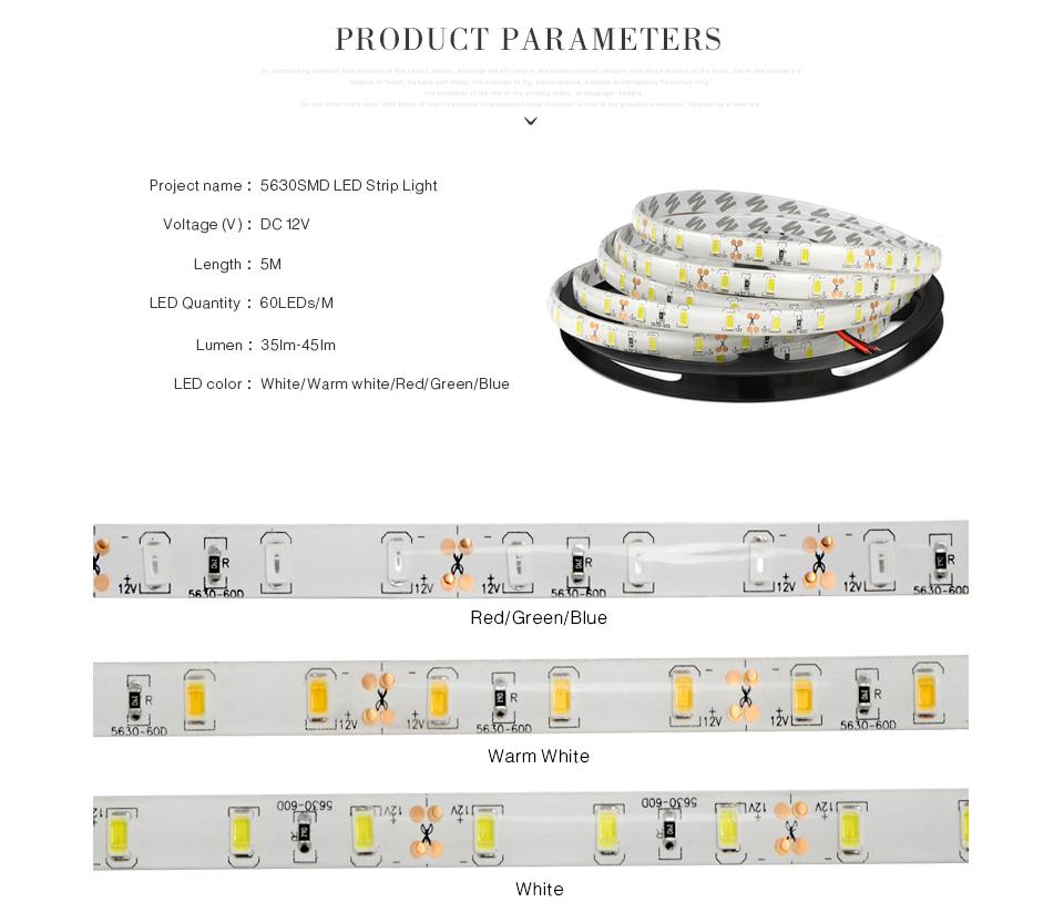 Ip65 Ip20 No Waterproof 5m Dc12v Led Strip Light 2835