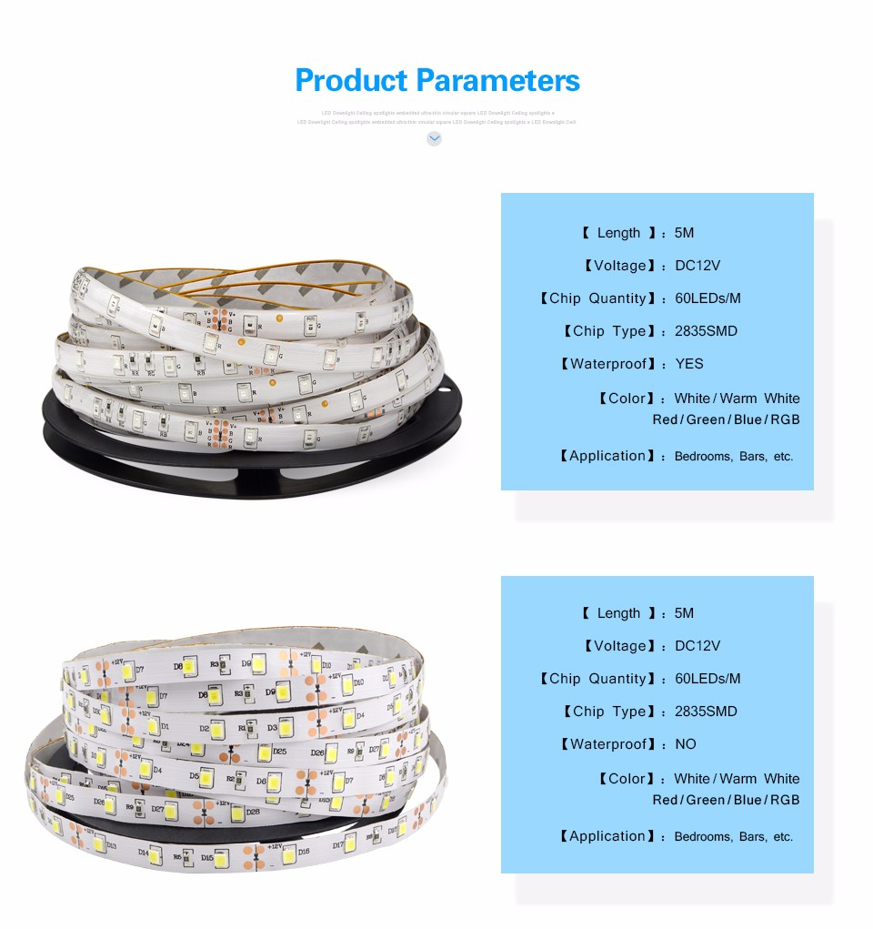 5M IP20 IP65 waterproof RGB LED Strip light DC 12V 2835 3528 SMD 3A Power supply Adapter remote control indoor home lighting
