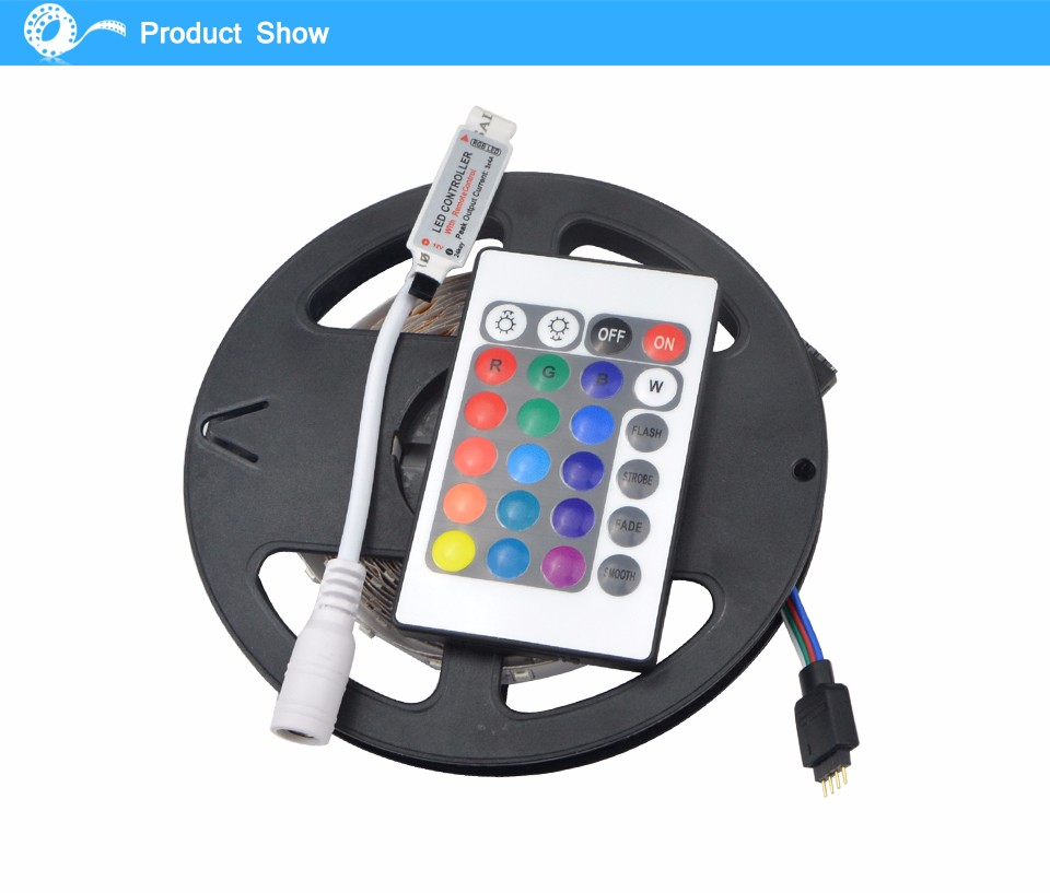 2835 3528 SMD RGB led strip light 5M 300LED 24key IR Remote Controller For Indoor Decorative lighting