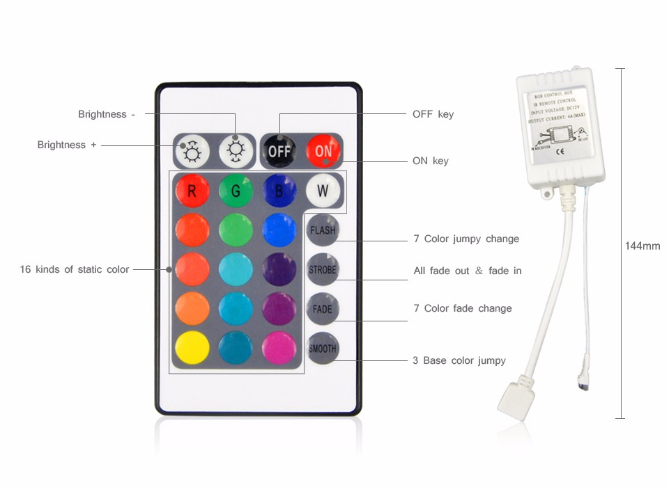 1set DC 12V 300LEDs RGB LED Strip light 2835 3528 SMD Tape 5M IP65 IP20 no waterproof 3A Power supply Adapter 44 24key