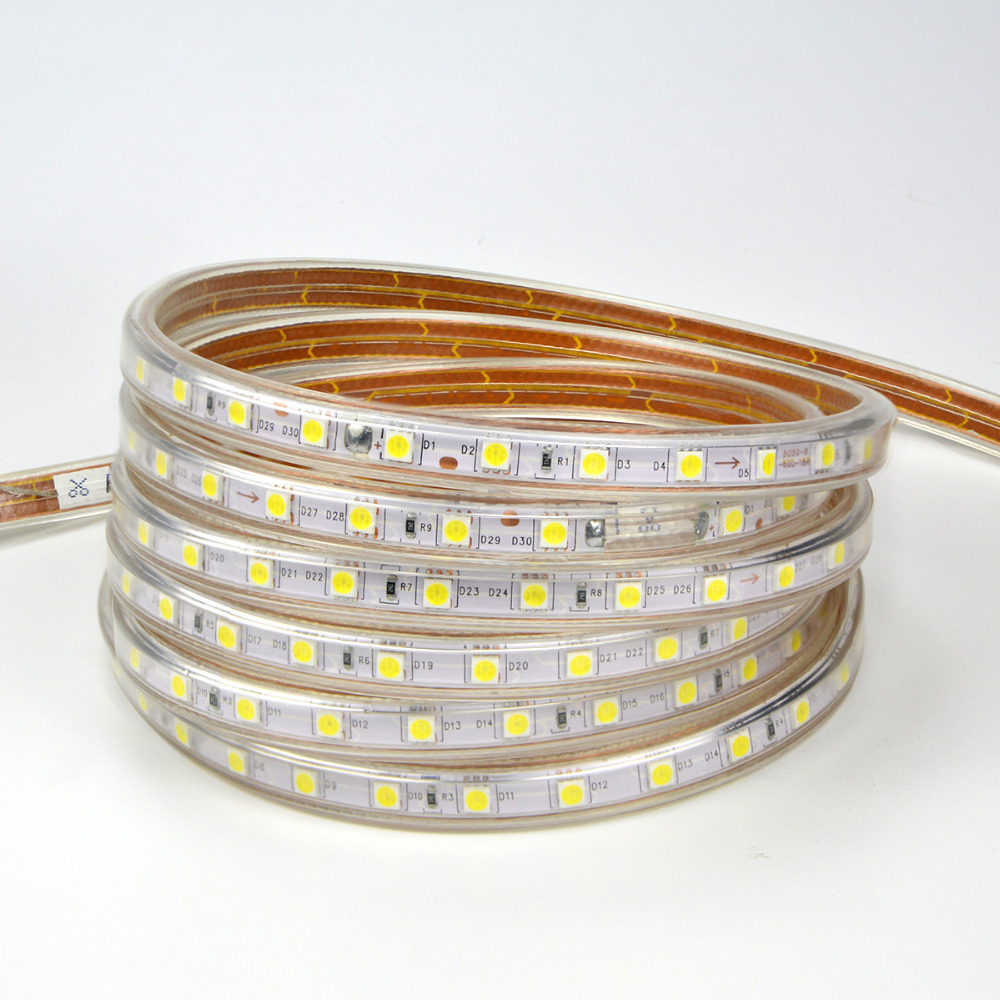 Dimmable 220v 5050smd Warm White Rgb Led Strip Light With Eu Plug Digital Weatherproof 60 1m Lamp 60leds M 5m 10m 15m Outdoor Home Decor String