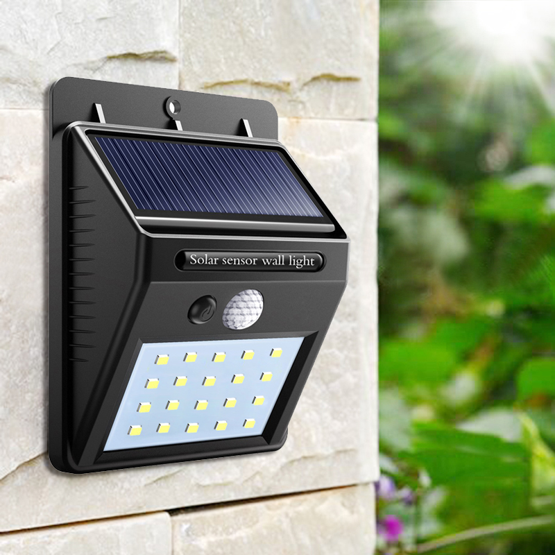 2pcs Waterproof 20leds Pir Motion Sensor Solar Light Solar