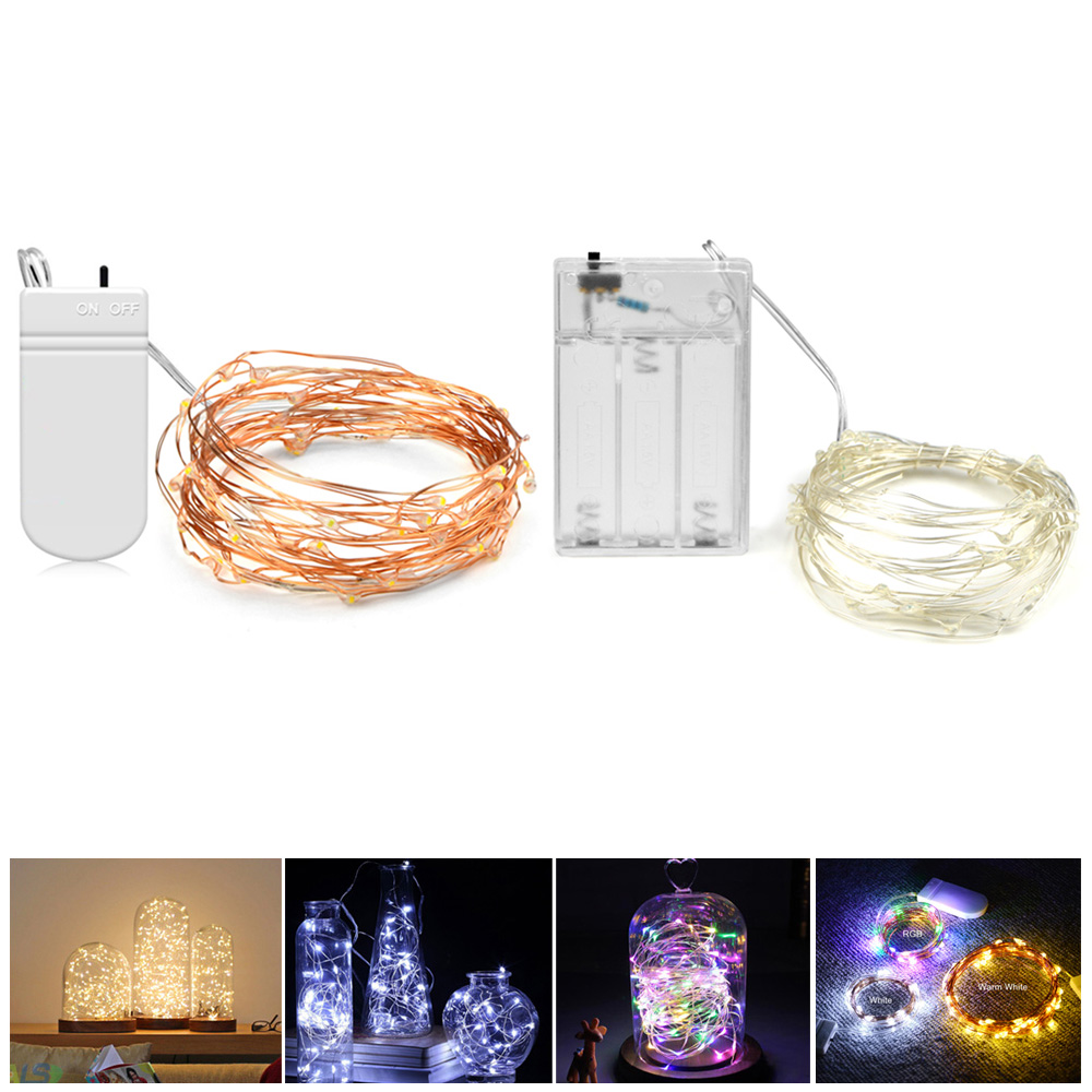 Diy 2m 5m Led Copper Wire String Light Waterproof Holiday