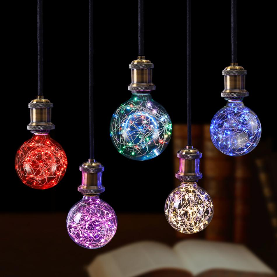 E27 110v 220v Retro Edison Fairy Led String Light Bulb Rgb