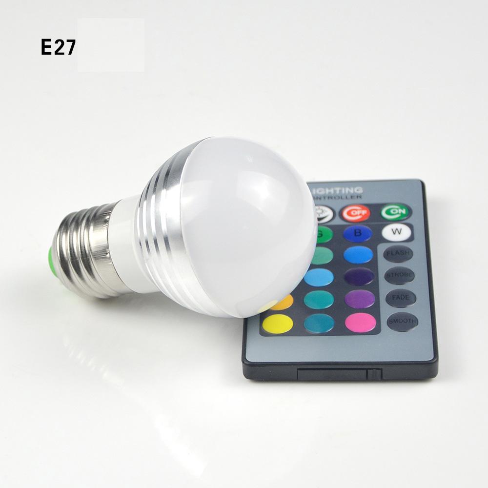 Dimmable Mini RGB LED Stage Light E27 E14 85 265V 110V 220V Lamp LED Bulb  With 24key Remote Home Lighting Night Light