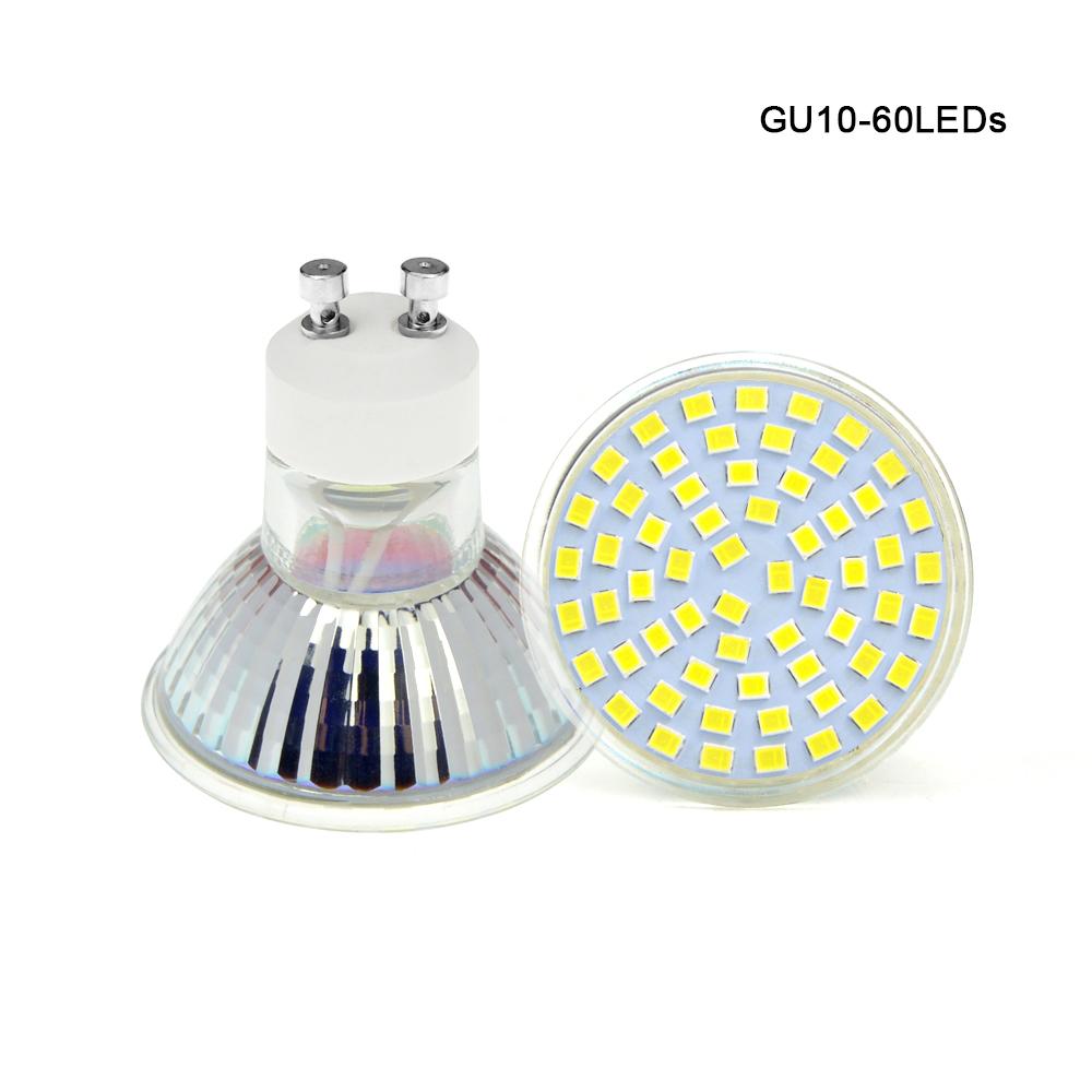 10pcs Ac 220v 2835 Smd 6w Gu10 E27 Mr16 60leds Led Lamp Led Spotlight Bulb Candle Spot Light