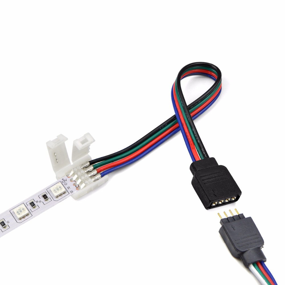 5pcs 4pin 10mm Free Welding 5050 Smd Rgb Led Strip Light Accessory Wiring For Lamp