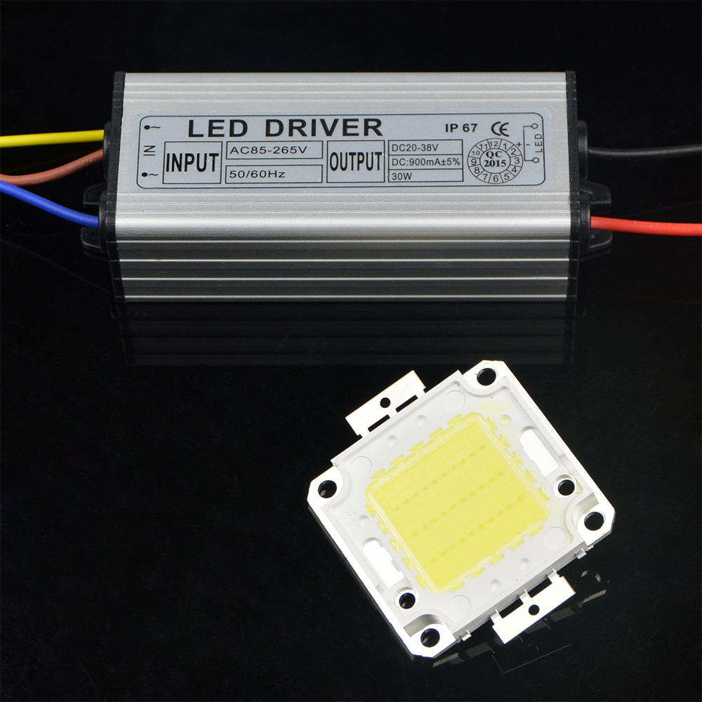 1set Diy Real Enough 30w High Power Led Floodlight Chip Cob Lamp Circuit Bulb With Driver Transformer For Outdoor Lighting