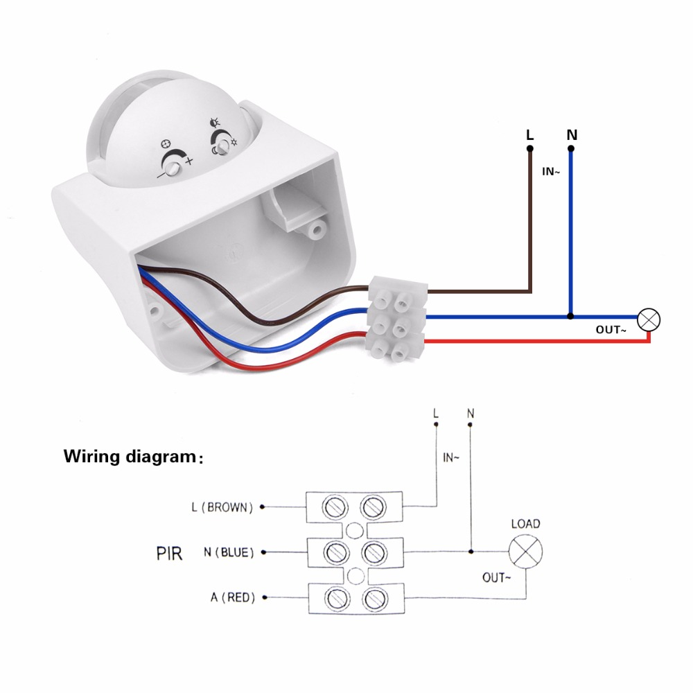 diy pir infrared motion sensor switch smart security led ... sensor light wiring diagram motion sensor light wire diagram for outside
